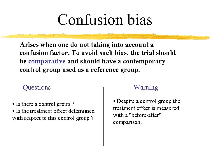 Confusion bias Arises when one do not taking into account a confusion factor. To