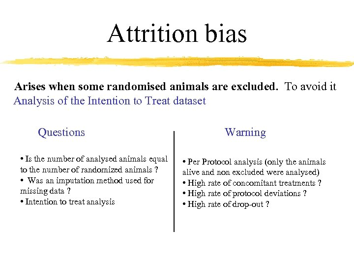 Attrition bias Arises when some randomised animals are excluded. To avoid it Analysis of