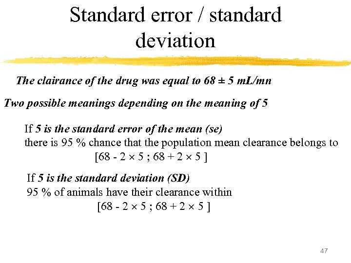 Standard error / standard deviation The clairance of the drug was equal to 68