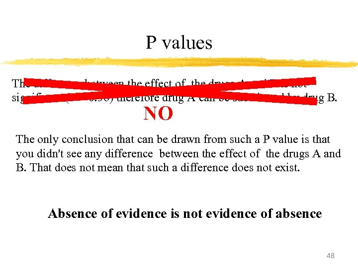 P values The difference between the effect of the drugs A and B is