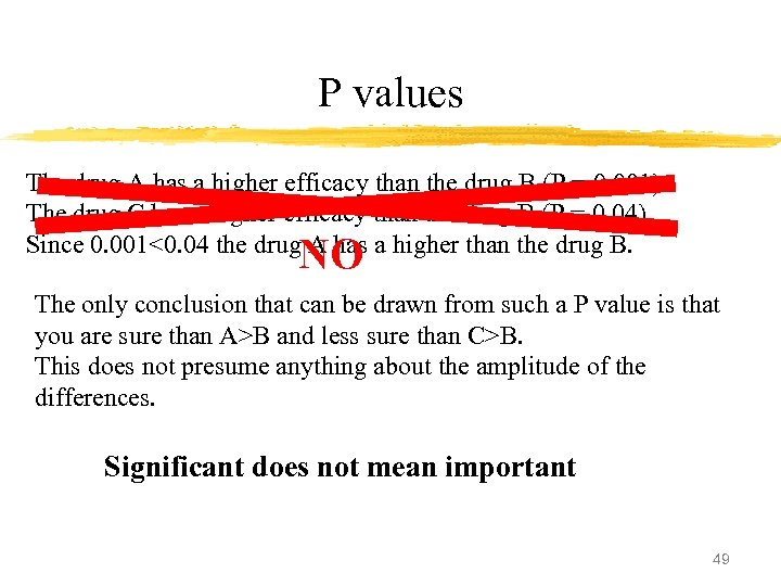 P values The drug A has a higher efficacy than the drug B (P