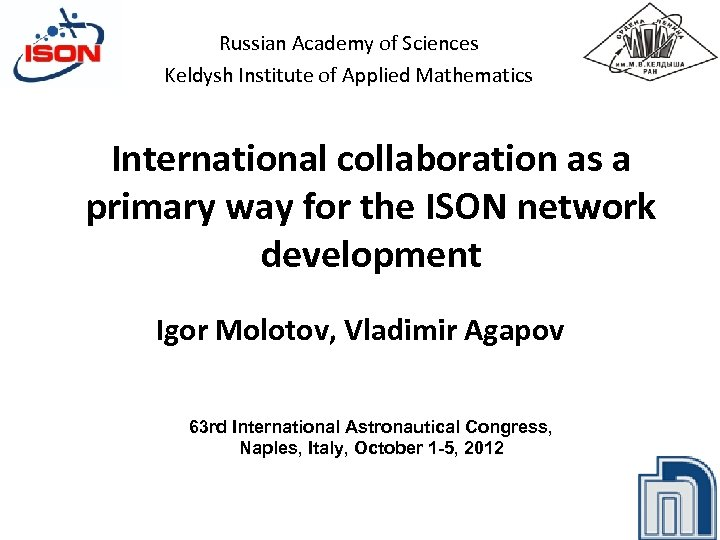 Russian Academy of Sciences Keldysh Institute of Applied Mathematics International collaboration as a primary