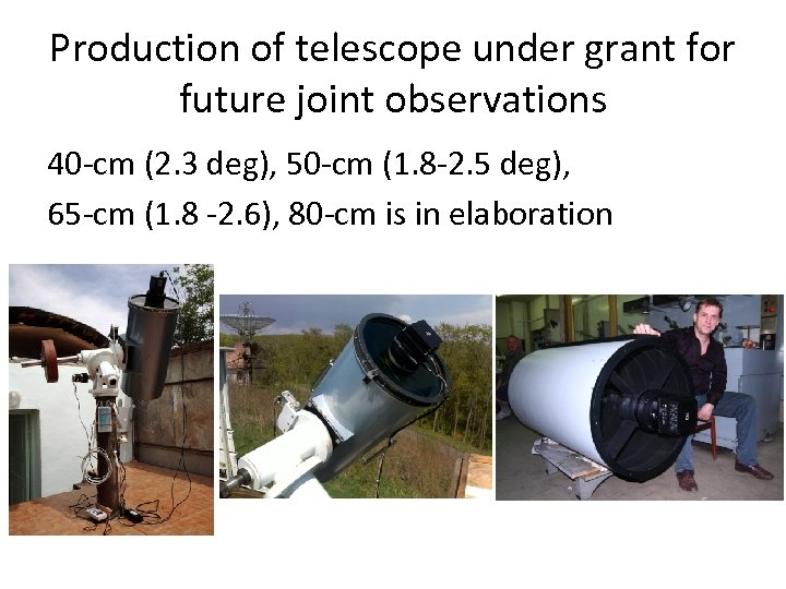 Production of telescope under grant for future joint observations 40 -cm (2. 3 deg),