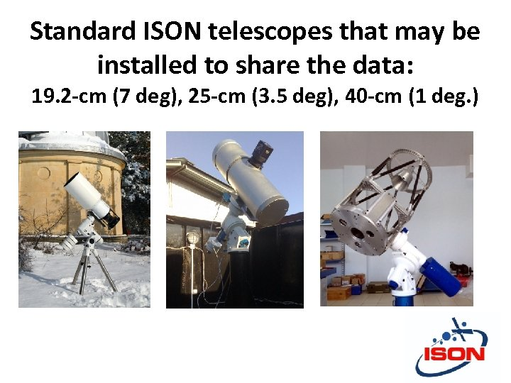 Standard ISON telescopes that may be installed to share the data: 19. 2 -cm