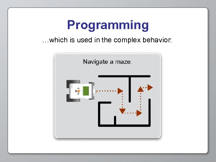Programming …which is used in the complex behavior: