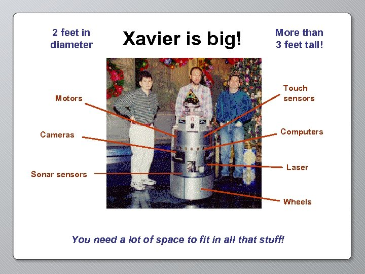 2 feet in diameter Motors Cameras Xavier is big! More than 3 feet tall!