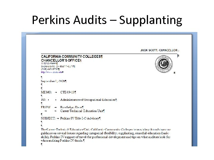 Perkins Audits – Supplanting