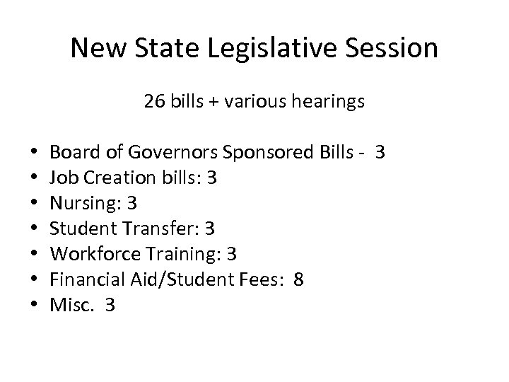 New State Legislative Session • • 26 bills + various hearings Board of Governors