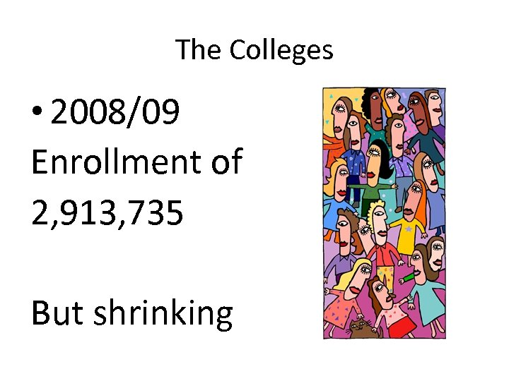 The Colleges • 2008/09 Enrollment of 2, 913, 735 But shrinking
