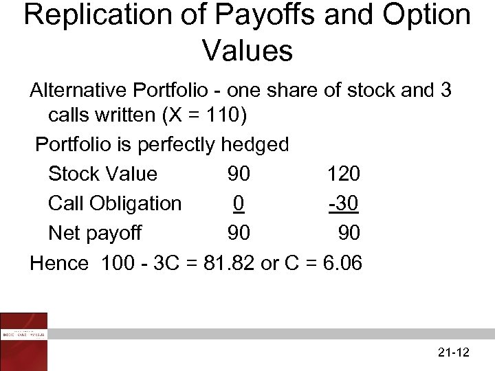 Replication of Payoffs and Option Values Alternative Portfolio - one share of stock and