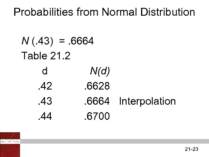 Probabilities from Normal Distribution N (. 43) =. 6664 Table 21. 2 d N(d).