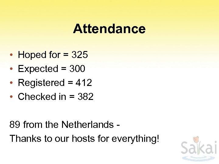 Attendance • • Hoped for = 325 Expected = 300 Registered = 412 Checked