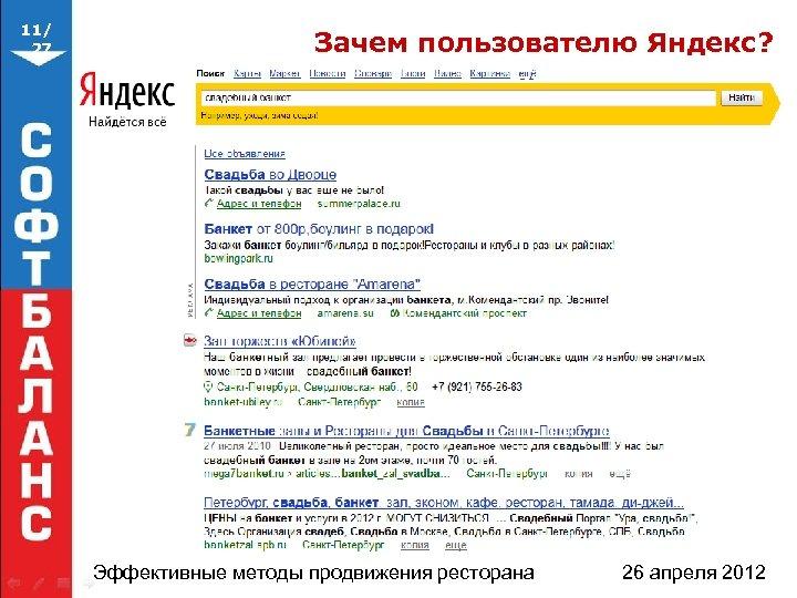 11/ 27 Зачем пользователю Яндекс? Эффективные методы продвижения ресторана 26 апреля 2012