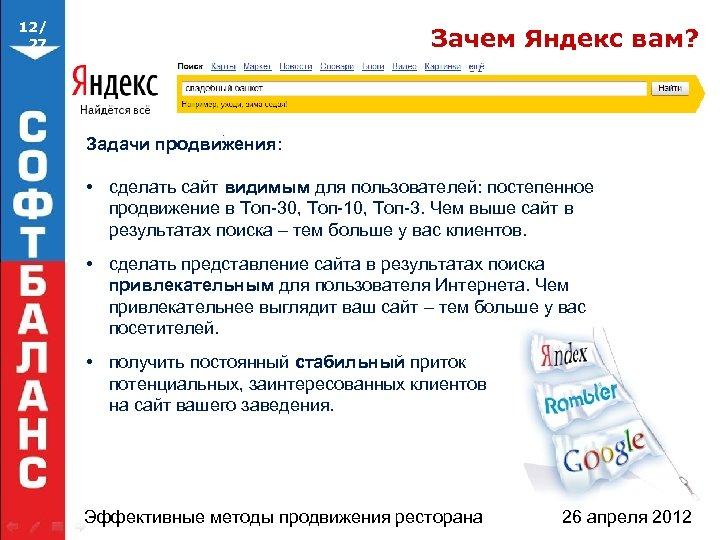 12/ 27 Зачем Яндекс вам? Задачи продвижения: • сделать сайт видимым для пользователей: постепенное