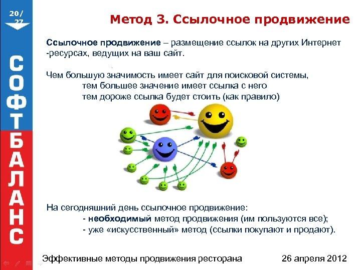 20/ 27 Метод 3. Ссылочное продвижение – размещение ссылок на других Интернет -ресурсах, ведущих