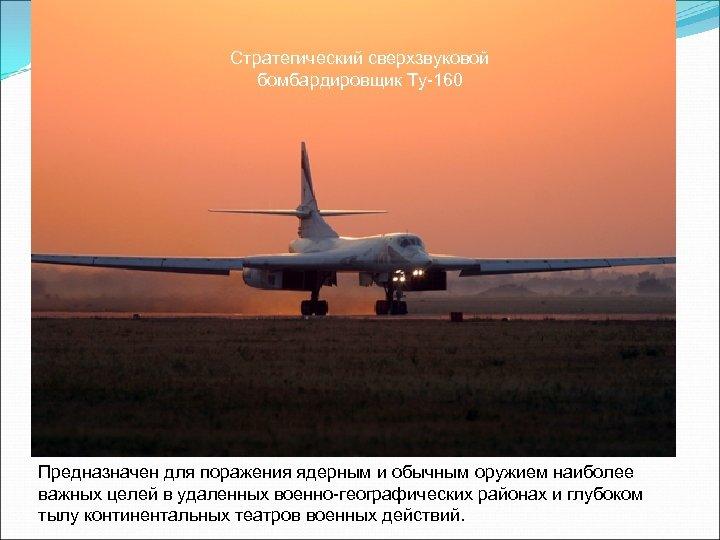 Стратегический сверхзвуковой бомбардировщик Ту-160 Предназначен для поражения ядерным и обычным оружием наиболее важных целей