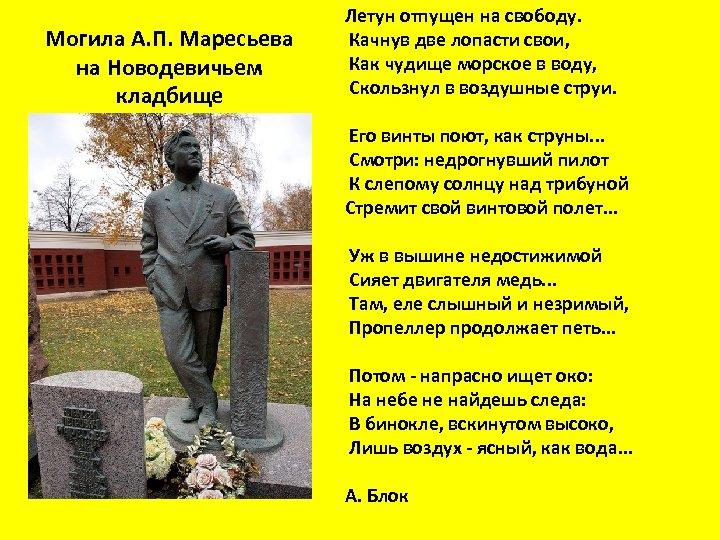 Могила А. П. Маресьева на Новодевичьем кладбище Летун отпущен на свободу. Качнув две лопасти