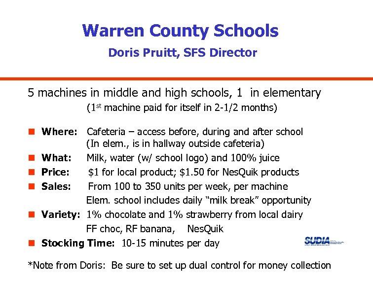 Warren County Schools Doris Pruitt, SFS Director 5 machines in middle and high schools,