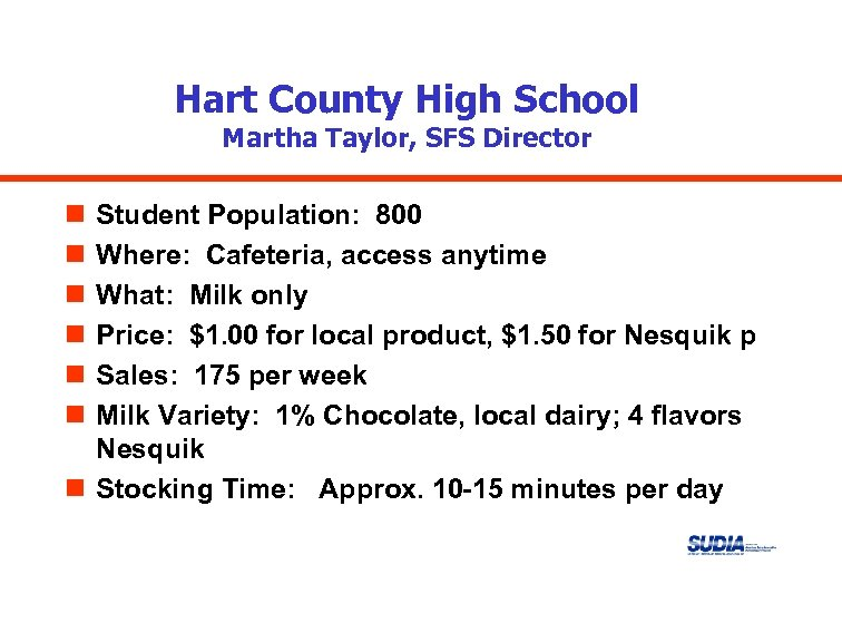 Hart County High School Martha Taylor, SFS Director n n n Student Population: 800