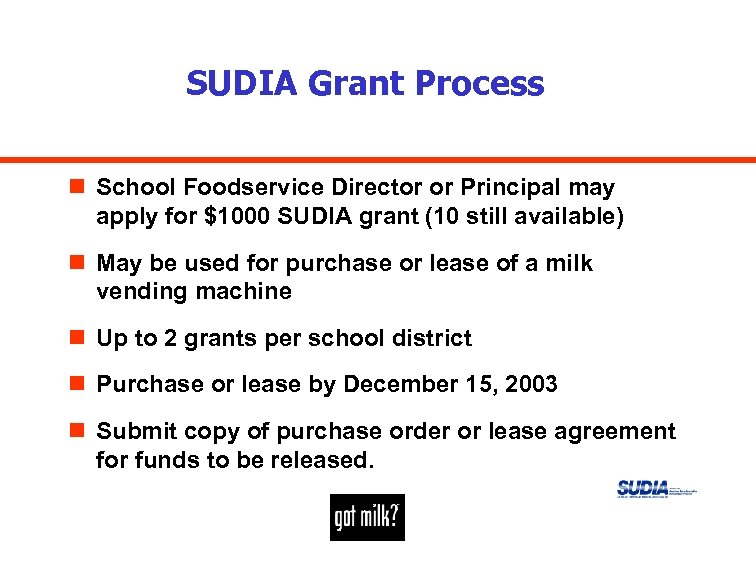 SUDIA Grant Process n School Foodservice Director or Principal may apply for $1000 SUDIA