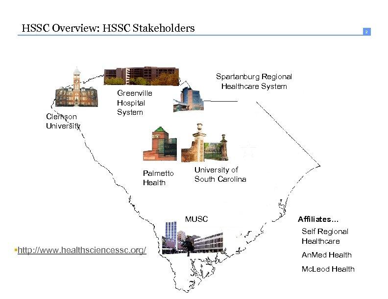 HSSC Overview: HSSC Stakeholders Clemson University Spartanburg Regional Healthcare System Greenville Hospital System Palmetto
