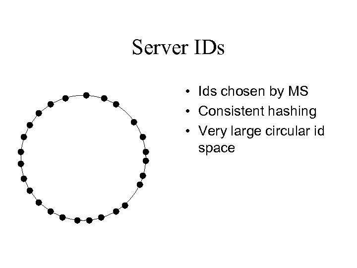 Server IDs • Ids chosen by MS • Consistent hashing • Very large circular