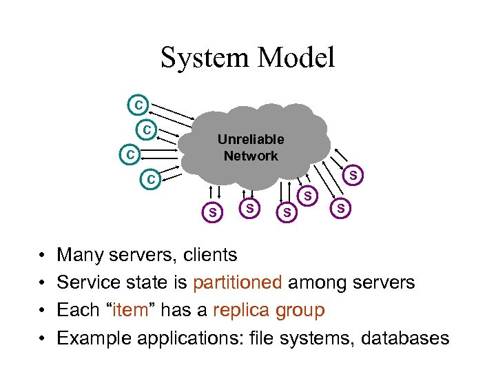 System Model C C Unreliable Network C S • • S S Many servers,