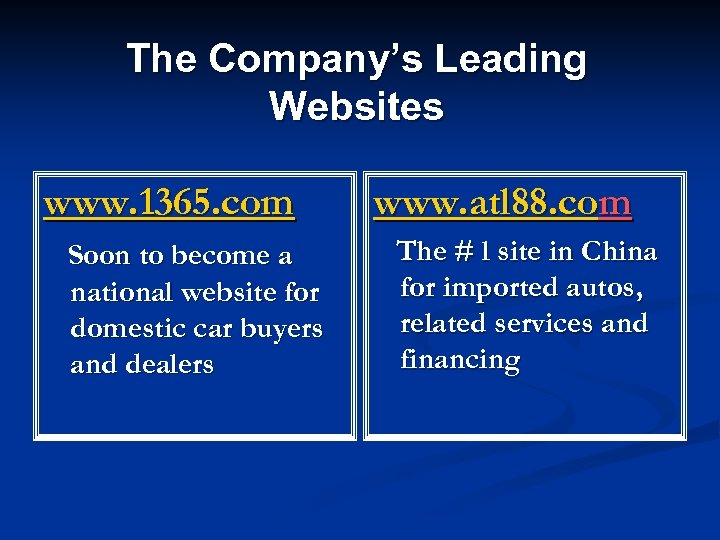 The Company's Leading Websites www. 1365. com Soon to become a national website for