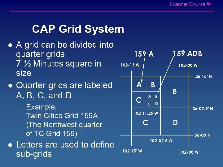 Scanner Course #4 CAP Grid System l l A grid can be divided into