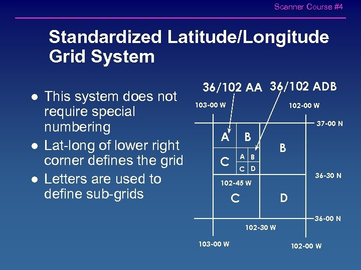 Scanner Course #4 Standardized Latitude/Longitude Grid System l l l This system does not