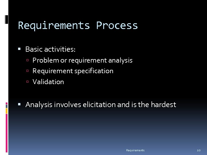 Requirements Process Basic activities: Problem or requirement analysis Requirement specification Validation Analysis involves elicitation