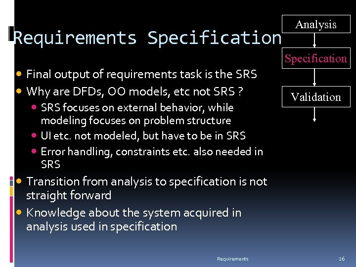 Requirements Specification Analysis Specification Final output of requirements task is the SRS Why are