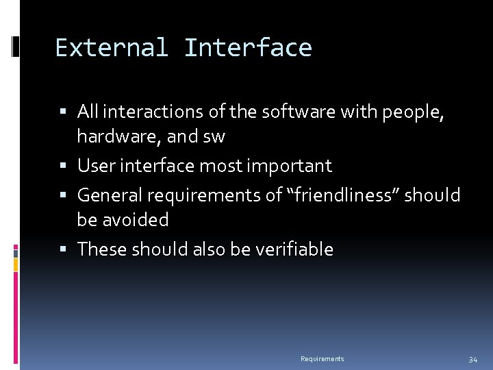 External Interface All interactions of the software with people, hardware, and sw User interface