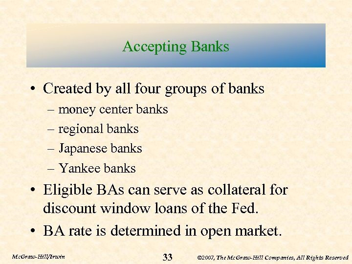 Accepting Banks • Created by all four groups of banks – money center banks