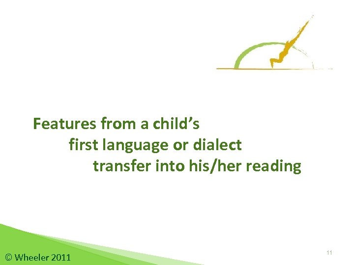 Features from a child's first language or dialect transfer into his/her reading © Wheeler