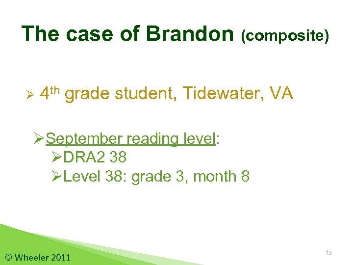The case of Brandon (composite) Ø 4 th grade student, Tidewater, VA ØSeptember reading
