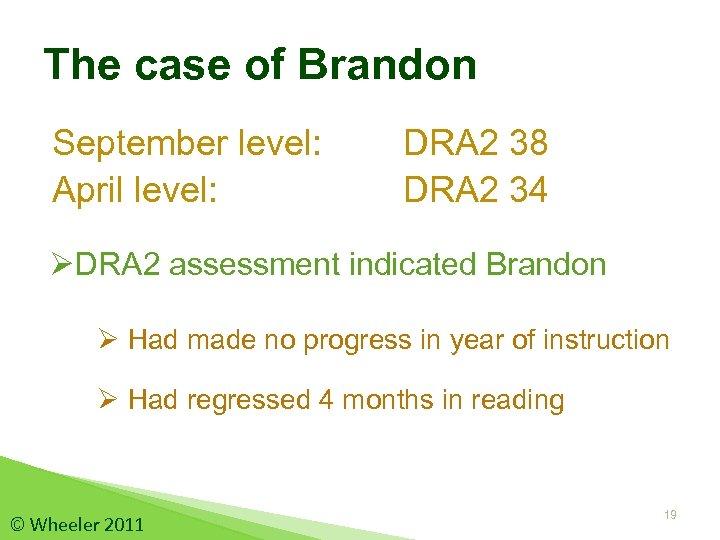 The case of Brandon September level: April level: DRA 2 38 DRA 2 34