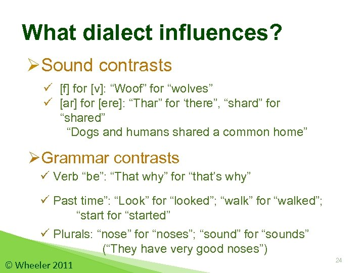 """What dialect influences? ØSound contrasts ü [f] for [v]: """"Woof"""" for """"wolves"""" ü [ar]"""