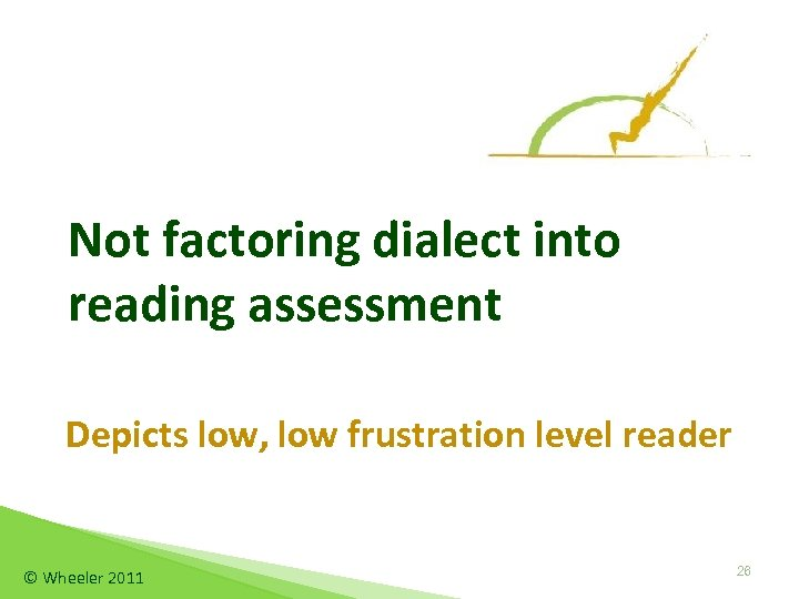 Not factoring dialect into reading assessment Depicts low, low frustration level reader © Wheeler