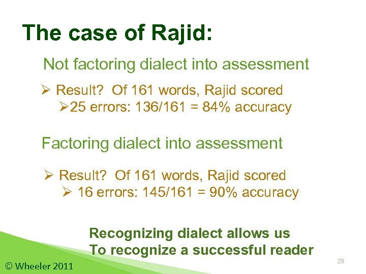 The case of Rajid: Not factoring dialect into assessment Ø Result? Of 161 words,