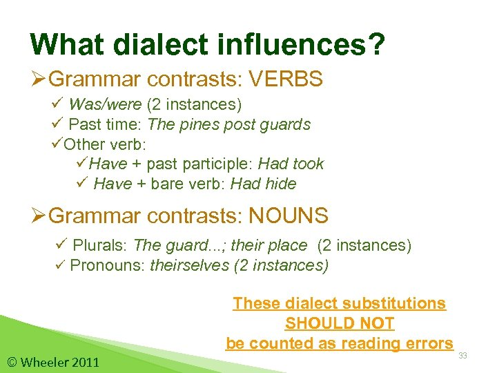 What dialect influences? ØGrammar contrasts: VERBS ü Was/were (2 instances) ü Past time: The