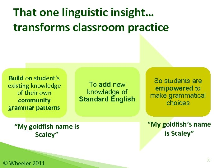 That one linguistic insight… transforms classroom practice Build on student's existing knowledge of their