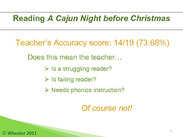 Reading A Cajun Night before Christmas Teacher's Accuracy score: 14/19 (73. 68%) Does this