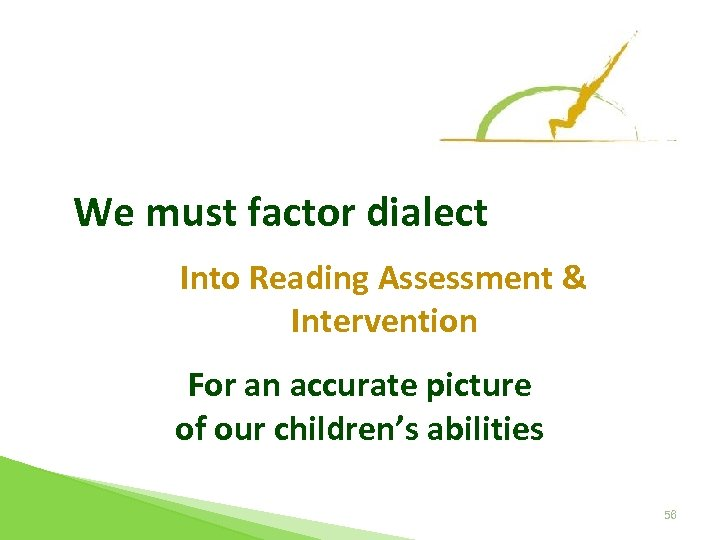 We must factor dialect Into Reading Assessment & Intervention For an accurate picture of