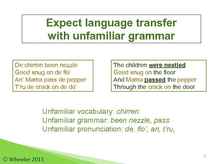 Expect language transfer with unfamiliar grammar De chirren been nezzle Good snug on de
