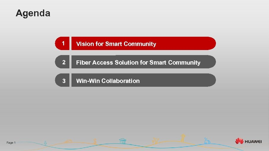 Agenda 1 2 Fiber Access Solution for Smart Community 3 Page 1 Vision for