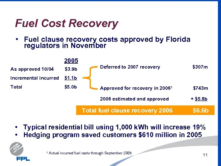Fuel Cost Recovery • Fuel clause recovery costs approved by Florida regulators in November