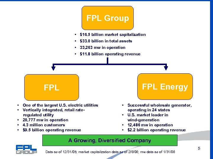FPL Group • $16. 5 billion market capitalization • $33. 0 billion in total