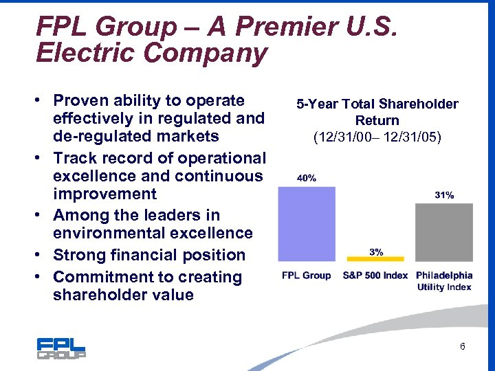 FPL Group – A Premier U. S. Electric Company • Proven ability to operate