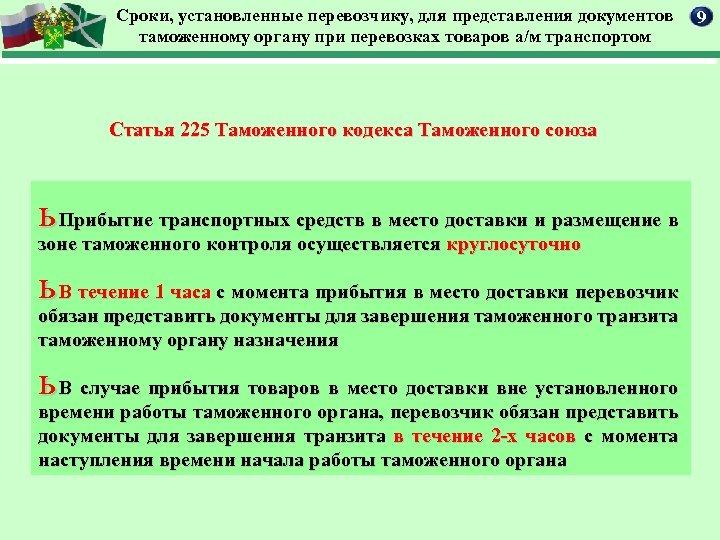 Сроки, установленные перевозчику, для представления документов таможенному органу при перевозках товаров а/м транспортом Статья